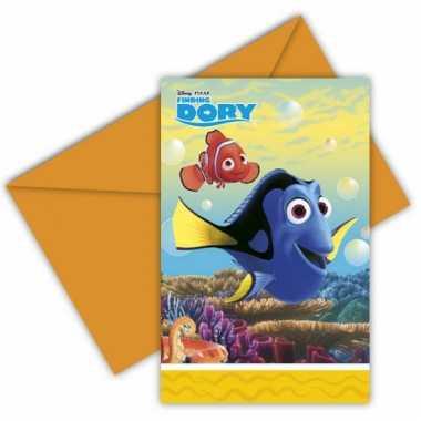 Finding dory uitnodigingen met enveloppe