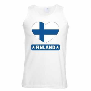 Finland hart vlag mouwloos shirt wit heren