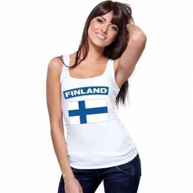 Finland vlag mouwloos shirt wit dames