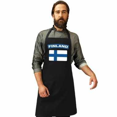 Finse vlag keukenschort/ barbecueschort zwart heren en dames