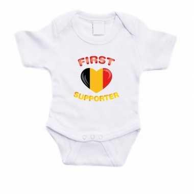 First belgie supporter rompertje wit babies