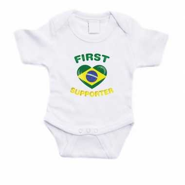First brazilie supporter rompertje wit babies