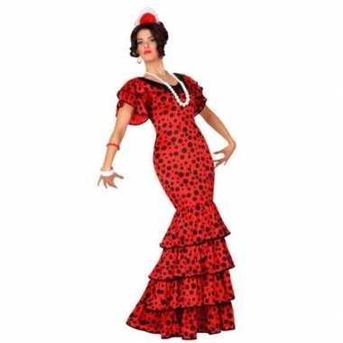Flamenco danseres jurk rood met stippen voor dames