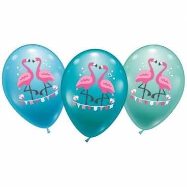 Flamingo ballonnen 6 stuks