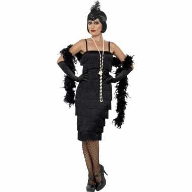 Flapper twenties verkleedkleding zwart voor dames