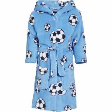 Fleece badjas lichtblauw voetbalprint voor jongens