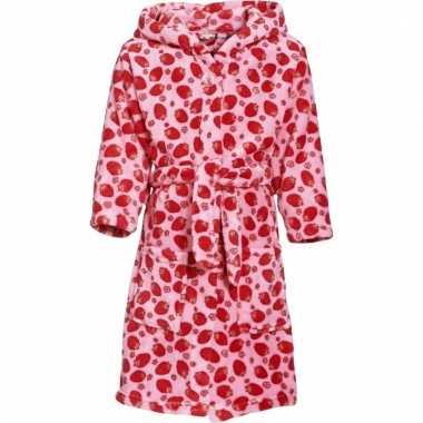 Fleece badjas roze aardbeienprint voor meisjes