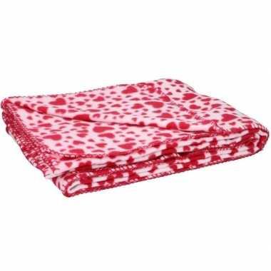 Fleece deken plaid rode hartjes 120 x 160 cm