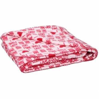 Fleece deken plaid witte hartjes 120 x 160 cm