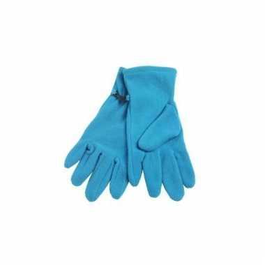 Fleece handschoenen aqua voor volwassenen