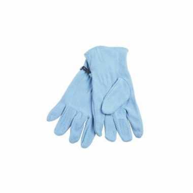 Fleece handschoenen licht blauw voor volwassenen