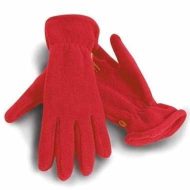 Fleece handschoenen rood voor volwassenen