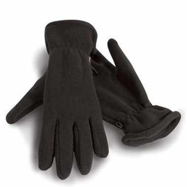 Fleece handschoenen zwart voor volwassenen