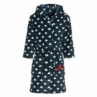 Fleece kinder badjassen/ochtendjassen blauw met hartjes voor kinderen