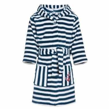 Fleece kinder badjassen/ochtendjassen blauw/witte strepen voor kinder