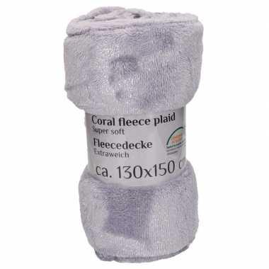Fleece plaid/deken grijs 130 x 150 cm