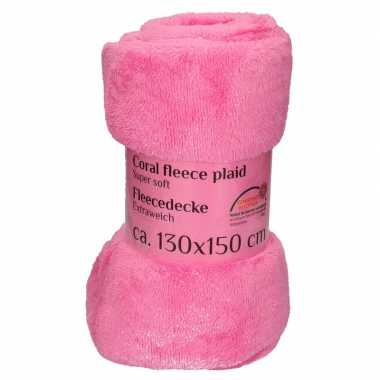 Fleece plaid/deken roze 130 x 150 cm