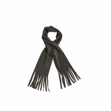 Fleece sjaals met franjes antraciet