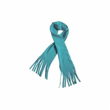 Fleece sjaals met franjes aqua blauw