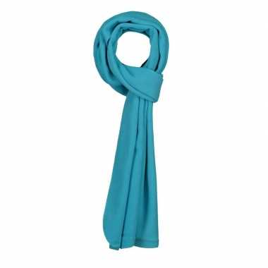 Fleece winter sjaal turquoise blauw