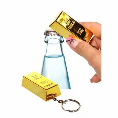 Flesopener goudstaaf sleutelhangertje