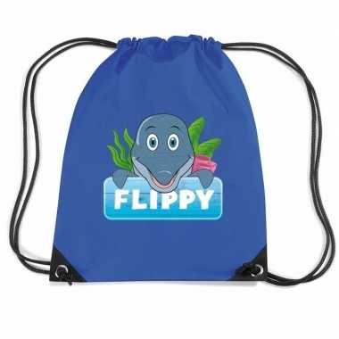 Flippy de dolfijn trekkoord rugzak / gymtas blauw voor kinderen