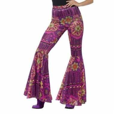 Flower power broek paars/roze voor dames