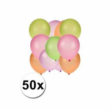 Fluor gekleurde ballonnen 50 stuks