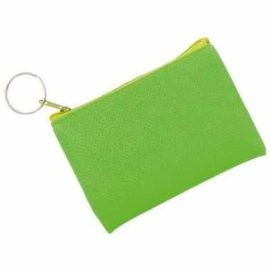 Fluor groene portemonnee voor sleutels 10 x 7 cm