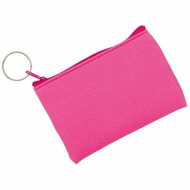 Fluor roze portemonnee voor sleutels 10 x 7 cm