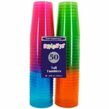 Fluorescerende frisdrank glazen 50 stuks