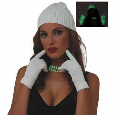Fluoriderend verkleed handschoenen wit voor dames