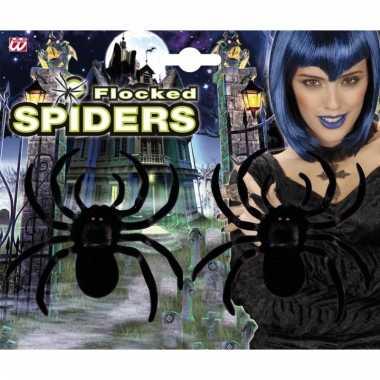 Fluwelen decoratie spinnen 2 stuks