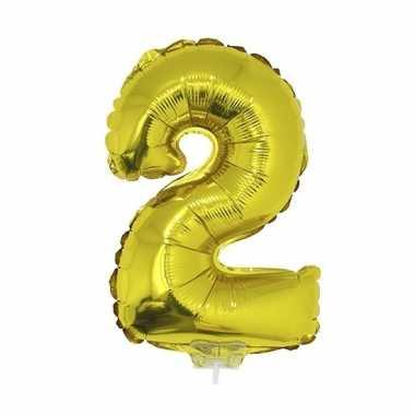 Folie ballon cijfer 2 goud 41 cm