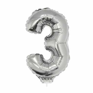 Folie ballon cijfer 3 zilver 41 cm