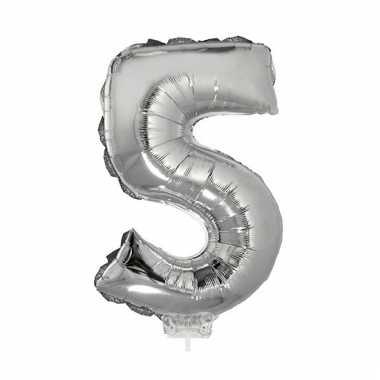 Folie ballon cijfer 5 zilver 41 cm
