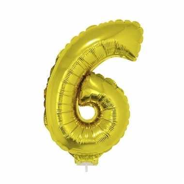 Folie ballon cijfer 6 goud 41 cm