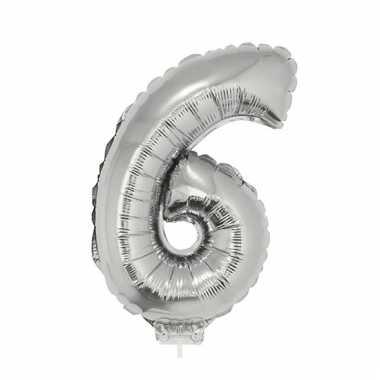 Folie ballon cijfer 6 zilver 41 cm