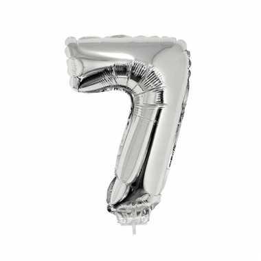 Folie ballon cijfer 7 zilver 41 cm