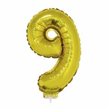 Folie ballon cijfer 9 goud 41 cm