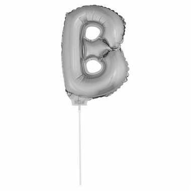 Folie ballon letter b zilver 41 cm