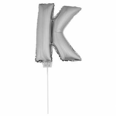 Folie ballon letter k zilver 41 cm