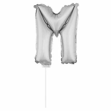 Folie ballon letter m zilver 41 cm