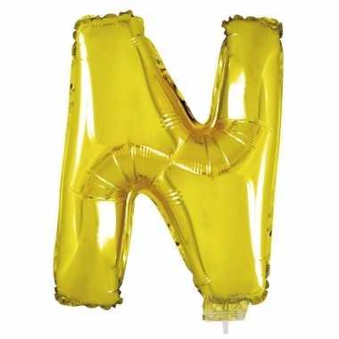 Folie ballon letter n goud 41 cm