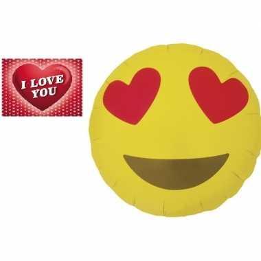 Folie ballon liefdes smiley 46 cm met valentijnskaart