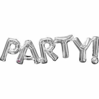 Folie ballon party zilver 83 cm