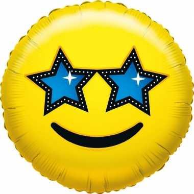 Folie ballon sterren smiley 35 cm
