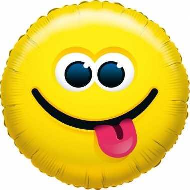 Folie ballon tong uitstekend smiley 35 cm