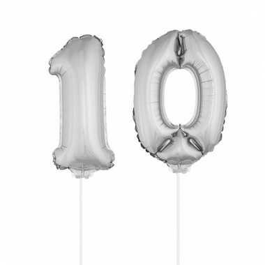 Folie ballonnen cijfer 10 zilver 41 cm