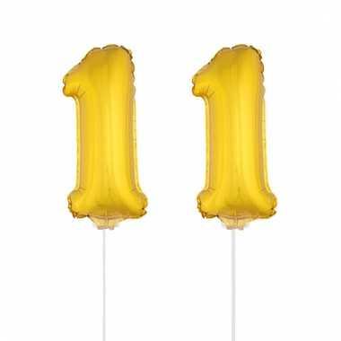 Folie ballonnen cijfer 11 goud 41 cm